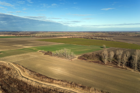 Countryside, Agricultural Landscape Aerial view. Stock Photo