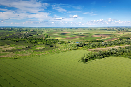 Aerial view of agricultural fields. Countryside, Agricultural Landscape Aerial view. Stock Photo