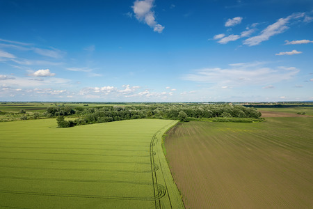 Aerial view of agricultural fields. Countryside, Agricultural Landscape Aerial view. Stok Fotoğraf