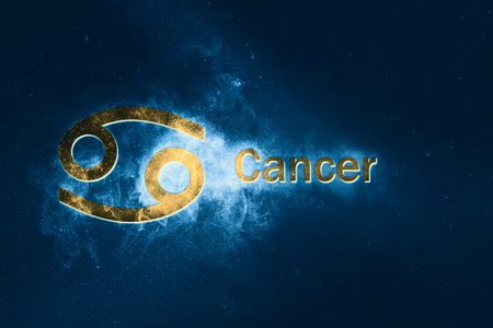 Cancer Horoscope Sign. Abstract night sky background Stock Photo