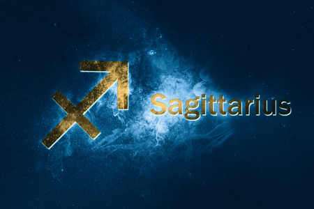 Sagittarius Horoscope Sign. Abstract night sky background
