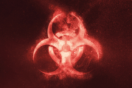 Biohazard symbol. Biohazard sign. Abstract night sky background
