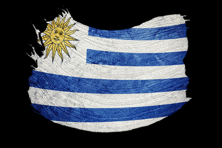 Drapeau de l'Uruguay grunge. Drapeau de l'Uruguay avec texture grunge. Coup de pinceau.