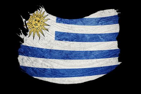 Grunge Uruguay flag. Uruguay flag with grunge texture. Brush stroke.
