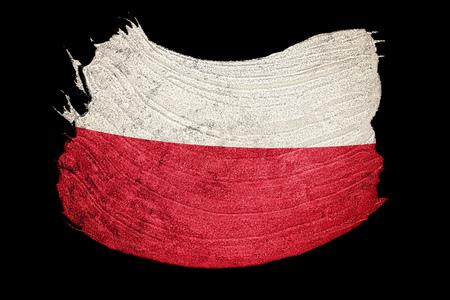 Grunge Poland flag. Poland flag with grunge texture. Brush stroke.