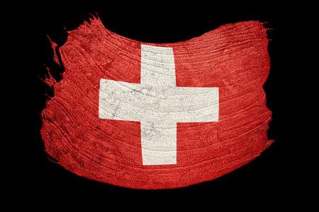 Grunge Switzerland flag. Swiss flag with grunge texture. Brush stroke. Stock Photo