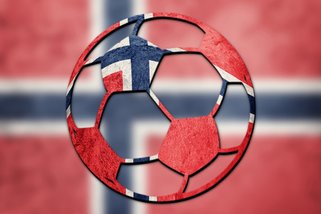 Soccer ball national Norway flag. Norway football ball.