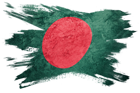 Grunge Bangladesh flag. Bangladesh flag with grunge texture. Brush stroke. Stock Photo