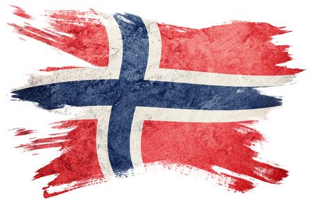 Grunge Norway flag. Norway flag with grunge texture. Brush stroke.