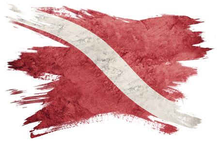 Vintage style scuba flag. Diver down flag. Brush stroke.