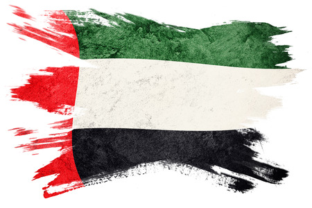 Grunge UAE flag. United Arab Emirates flag with grunge texture. Brush stroke.