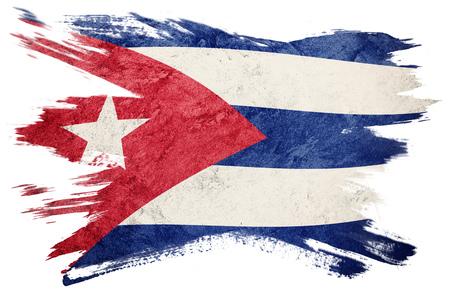 Grunge Cuba flag. Cuban flag with grunge texture. Brush stroke. 写真素材