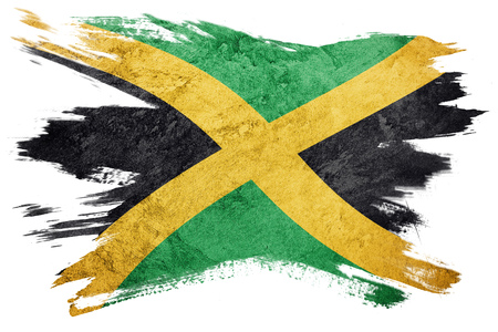 Grunge Jamaica flag. Jamaica flag with grunge texture. Brush stroke. Banque d'images