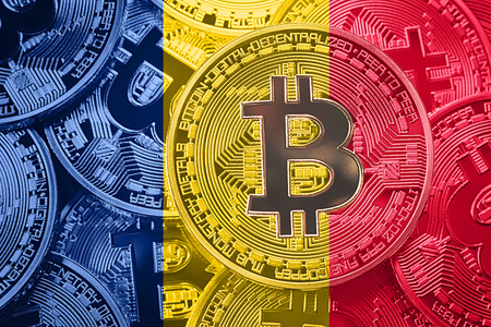 Stack of Bitcoin Chad flag. Bitcoin cryptocurrencies concept. BTC background.