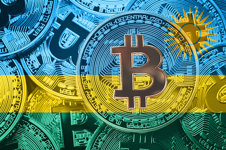 Stack of Bitcoin Rwanda flag. Bitcoin cryptocurrencies concept. BTC background.