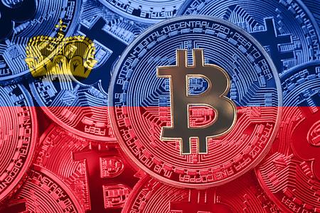 Stack of Bitcoin Liechtenstein flag. Bitcoin cryptocurrencies concept. BTC background.