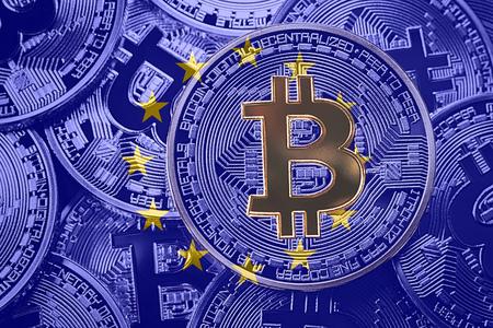 Stack of Bitcoin European Union flag. Bitcoin cryptocurrencies concept. BTC background.