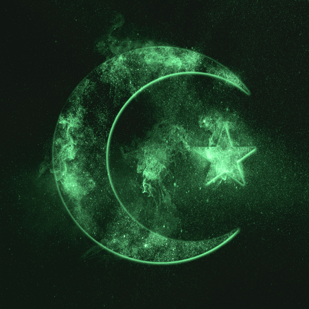 Symbol of Islam. Star and crescent moon. Green symbol