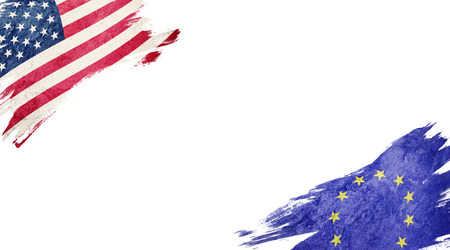 Flags of USA and EU on white background Stock Photo