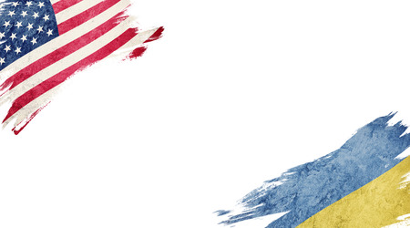 Flags of USA and Ukraine on white background