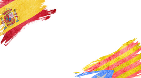 Flags of Spain and Catalonia on white background Stock Photo