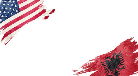 Flags of USA and Albania on white background