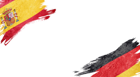 Flags of Spain and Germany on white background