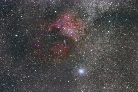 The North America nebula in Cygnus. Brightest star Deneb