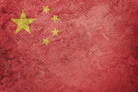 Grunge China flag. Chines flag with grunge texture. 스톡 콘텐츠