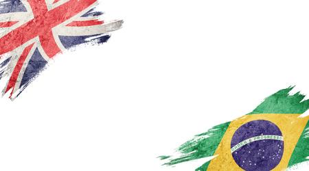 Drapeaux du Royaume-Uni et du Brésil sur fond blanc