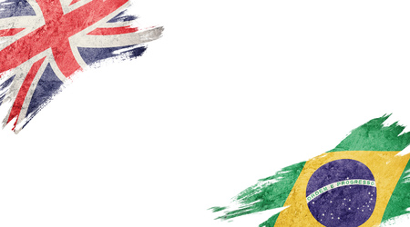 Flags of United Kingdom and Brasil on white background