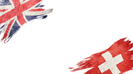 Flags of United Kingdom and Switzerland on white background