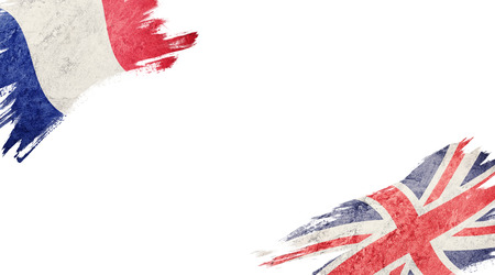 Flags of France and United Kingdom on white background