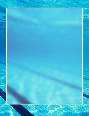 Swimming pool background white border frame, water surface blank text box