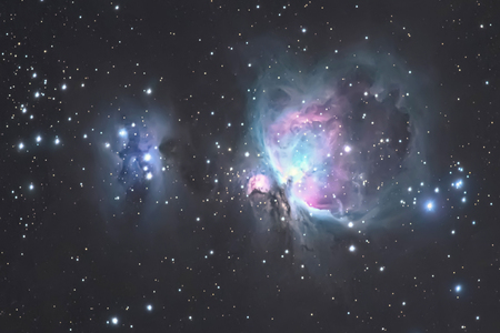 Great Orion Nebula M42, in the constellation of Orion, Milky Way 스톡 콘텐츠