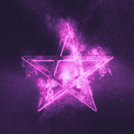 Pentagram symbol. Abstract night sky background. Stock Photo