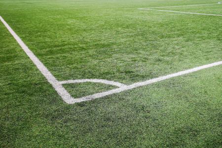 Corner football field, Corner chalk mark artificial grass soccer field Imagens