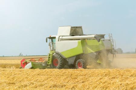 Combine harvesting a wheat field. Combine working the field. Stockfoto