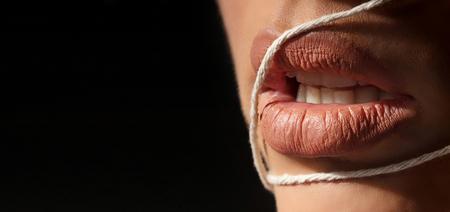 Natural Lips Makeup Close up Sexy Full Lips, Fresh Lip Make-up, Copy Space