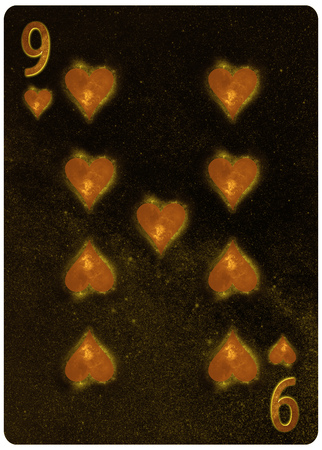 Nine of Hearts playing card Abstract Background 版權商用圖片