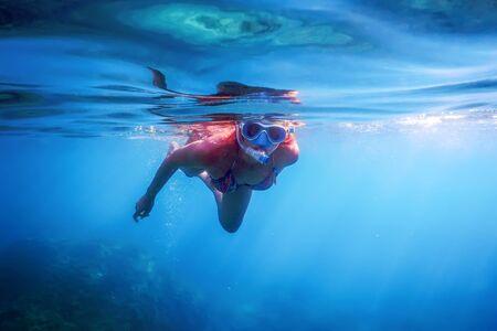 Women Snorkeling in the Tropical Sea, Underwater Women