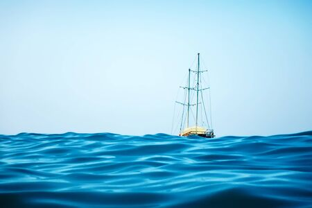 Sailing Yacht in the Tropical Sea, Yachting, Luxury Sailing Stok Fotoğraf