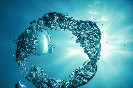 Underwater Air Bubbles with Sunlight. Underwater Background Air Bubbles
