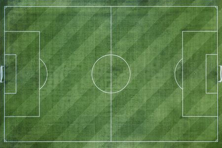 Terrain de football, terrain de football, fond de terrain de football herbe verte Banque d'images