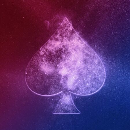 Spade symbol Red Blue. Playing card. Abstract night sky background
