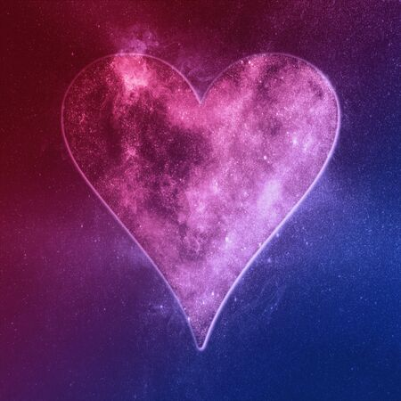 Heart symbol. Playing card Red Blue. Abstract night sky background