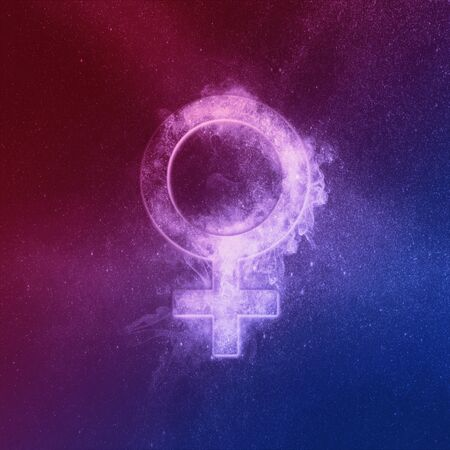 Planet Venus Symbol Red Blue. Venus sign. Abstract night sky background.
