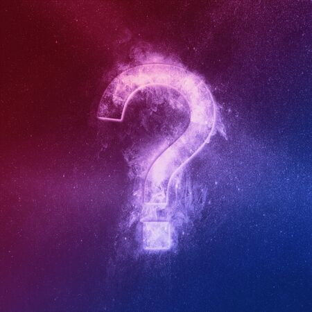 Question mark sign Red Blue. Abstract night sky background.