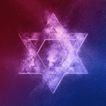 Magen David symbol Red Blue, Star of David. Abstract night sky background. Stock Photo
