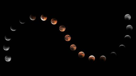 Lunar Eclipse Phases, Blood moon, Composite Lunar Eclipse Stok Fotoğraf - 131390893